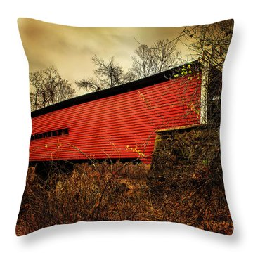 Sheeder Hall Covered Bridge 2 Throw Pillow by Judy Wolinsky