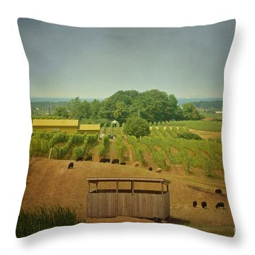 Sheep Among The Vineyards Throw Pillow