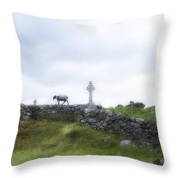 Sheep And Cross Throw Pillow