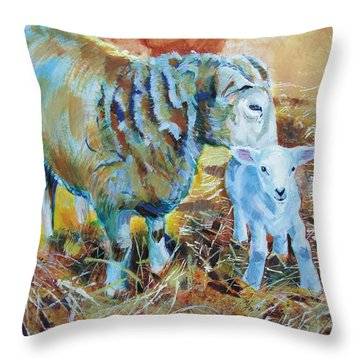 Sheep And Lamb Throw Pillow