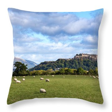 Sheep And Stirling Castle Throw Pillow by Jane Rix