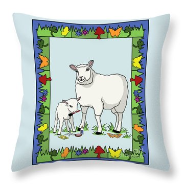 Sheep Artist Sheep Art II Throw Pillow by Audra D Lemke