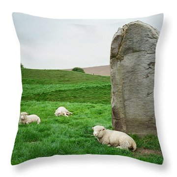 Sheep At Avebury Stones - Original Throw Pillow