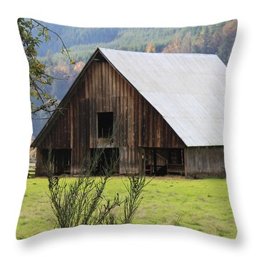 Sheep Barn Throw Pillow by Katie Wing Vigil