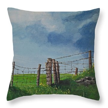 Sheep Field Throw Pillow by Barbara McDevitt