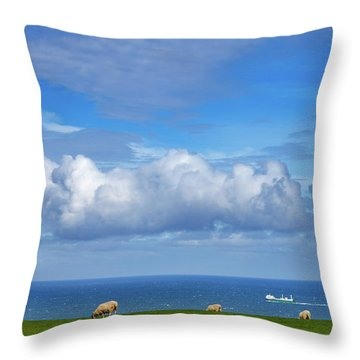 Sheep Grazing On The North Yorkshire Throw Pillow