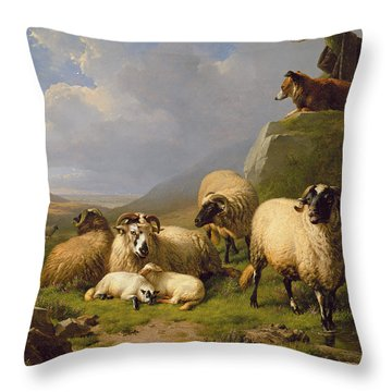 Sheep In A Landscape, 1863 Throw Pillow