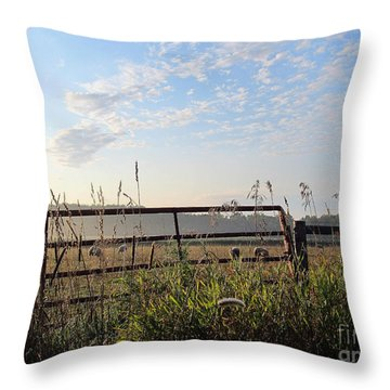 Sheep In The Meadow Throw Pillow by Tina M Wenger