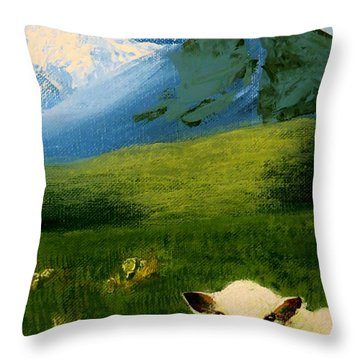 Sheep Looking In Throw Pillow