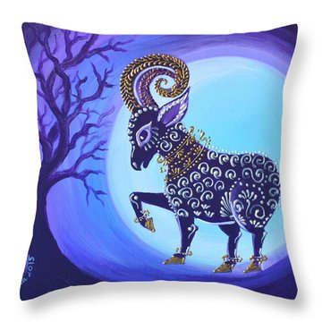 Throw Pillow featuring the painting Sheep Of 2015 by Agata Lindquist