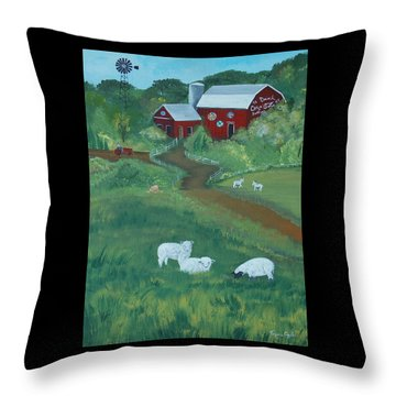 Throw Pillow featuring the painting Sheeps In The Meadow by Virginia Coyle