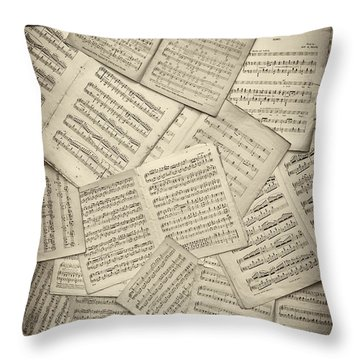 Sheet Music Throw Pillow by Tim Gainey