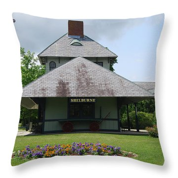Throw Pillow featuring the photograph Shelburne Depot by Caroline Stella