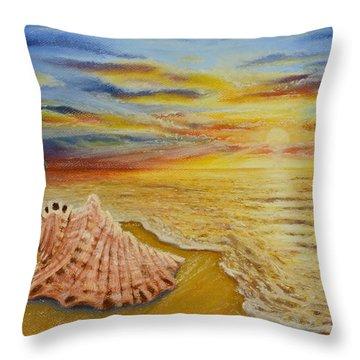 Shell At Sunset Throw Pillow
