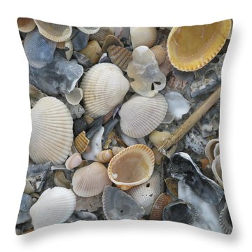 Shell Mosaic Throw Pillow by Ellen Meakin