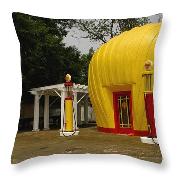 Shell Oil Gas Station Throw Pillow by James C Thomas