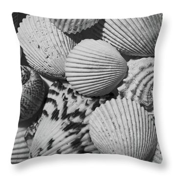Throw Pillow featuring the photograph Shells In Black And White by Mary Bedy