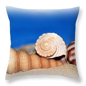 Shells In Sand Throw Pillow by Francie Davis