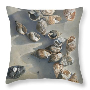 Shells On A Sandy Beach Throw Pillow