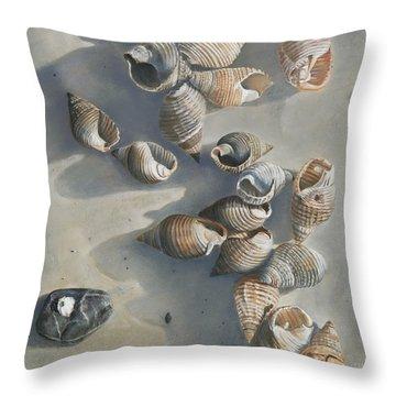 Shells On A Sandy Beach Throw Pillow