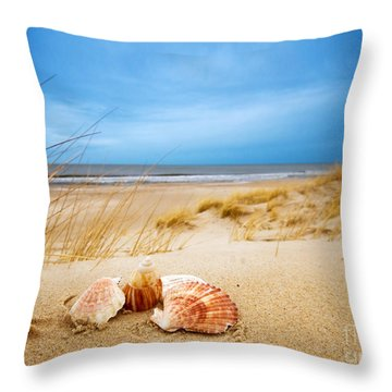 Shells On Sand Throw Pillow by Michal Bednarek