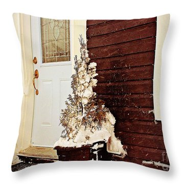 Shelter From The Storm - Blizzard - Snow Storm Throw Pillow by Barbara Griffin