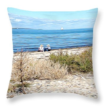 Shelter Island Beach Throw Pillow