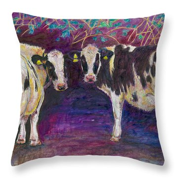Sheltering Cows Throw Pillow by Helen White