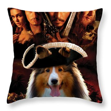 Sheltie - Shetland Sheepdog Art Canvas Print - Pirates Of The Caribbean The Curse Of The Black Pearl Throw Pillow