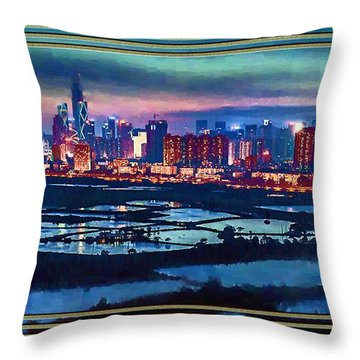 Throw Pillow featuring the painting Shenzen Across The Rice Paddy Fields by Mario Carini
