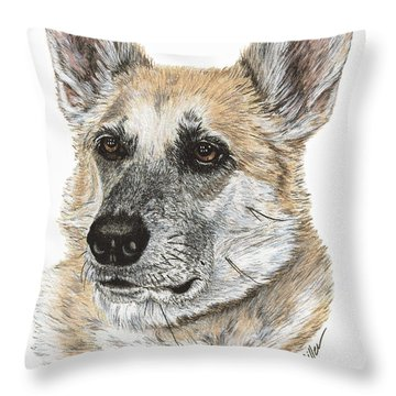 Throw Pillow featuring the drawing Shepherd Beauty by Val Miller