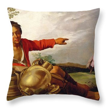 Shepherd Boy Pointing At Tobias And The Angel Throw Pillow by Abraham Bloemaert