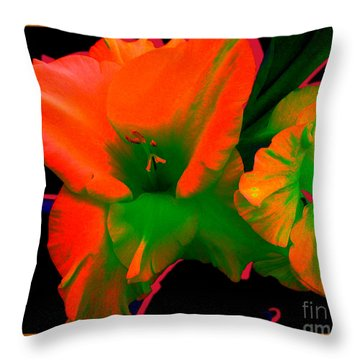 Sherbert Gladiolus Throw Pillow by Margaret Newcomb