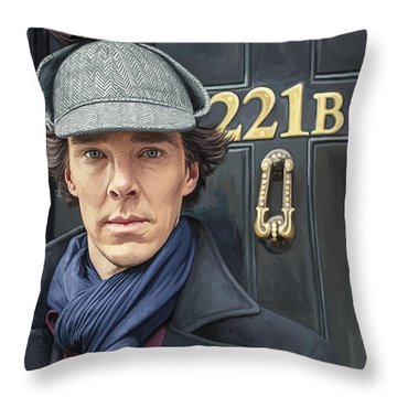 Throw Pillow featuring the painting Sherlock Holmes Artwork by Sheraz A
