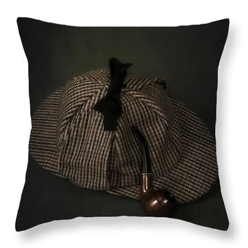 Sherlock Holmes Throw Pillow by Joana Kruse