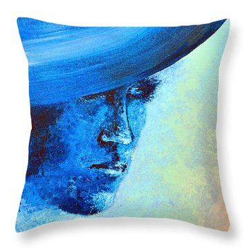 Shi Di Has The Blues Poster Throw Pillow by Alys Caviness-Gober