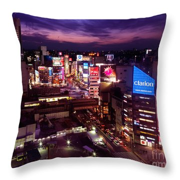 Shibuya Station Aerial View Tokyo Throw Pillow