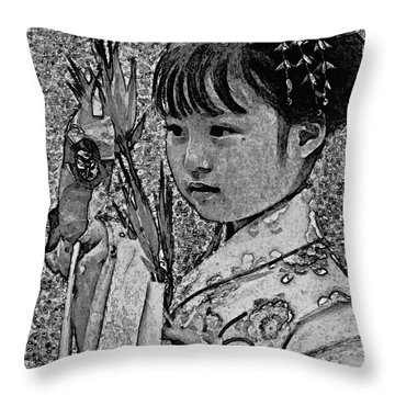 Shichi-go-san Girl Throw Pillow