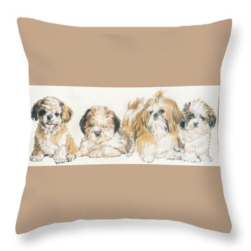 Shih Tzu Puppies Throw Pillow by Barbara Keith