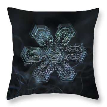 Throw Pillow featuring the photograph Snowflake Photo - Shine by Alexey Kljatov