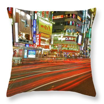 Shinjuku Neon Strikes Throw Pillow