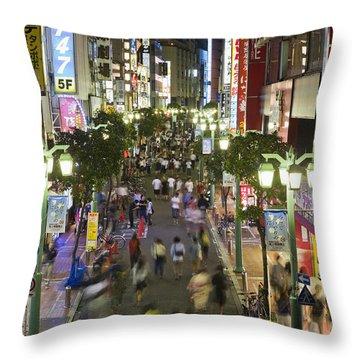 Shinjuku Street Scene At Night Throw Pillow