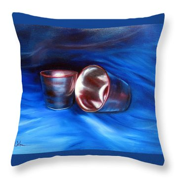 Throw Pillow featuring the painting Shiny Metal Cups Study by LaVonne Hand