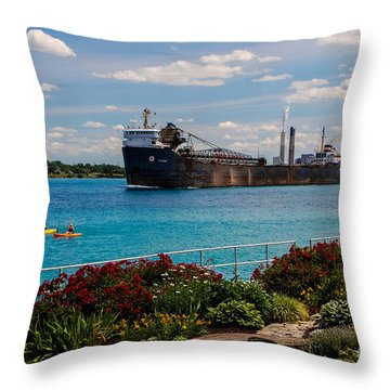 Ship And Kayaks Throw Pillow