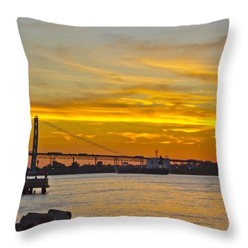 Ship Approaches Ambassador Bridge At Sunset Throw Pillow