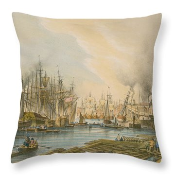 Ship Building At Limehouse Throw Pillow by William Parrot