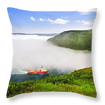 Ship Entering The Narrows Of St John's Throw Pillow by Elena Elisseeva