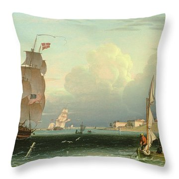 Ship Going Out, Fort Independence Throw Pillow