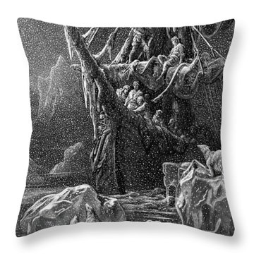 Ship In Antartica Throw Pillow by Gustave Dore