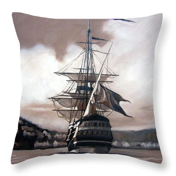 Throw Pillow featuring the painting Ship In Sepia by Janet King